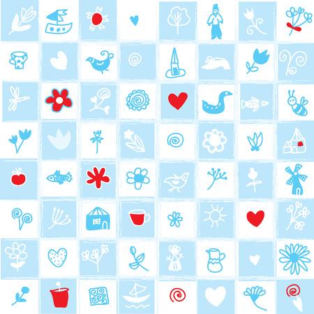 Holland delfts blauwe naadloze patroon met bloemen en objecten Stock Illustratie