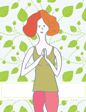 Yoga banner with girl and leaves background Vector