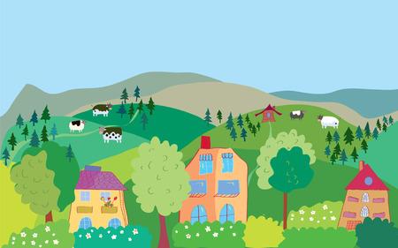Landscape with mountain hills, cows, trees, village cartoon Иллюстрация