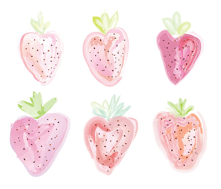 strawberies: Set of strawberies - watercolor style illustration