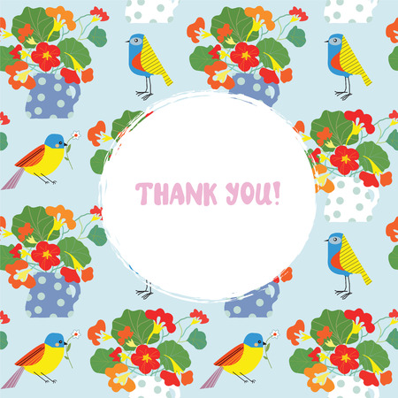 Greeting card with flowers and bird - thank you text Vector