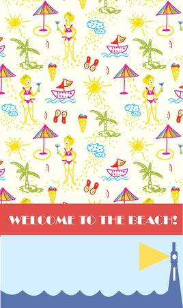 Beach party background for banner or flyer funny design Vector