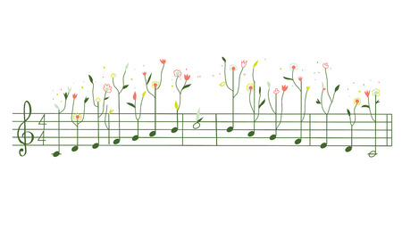 gamma: Melody with flowers - gamma illustration cute design