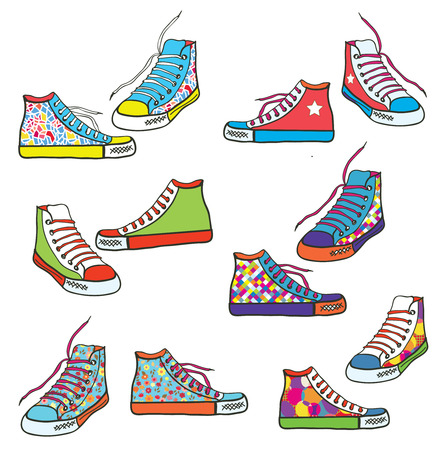 Set of sneakers with pattern funny design  Vector