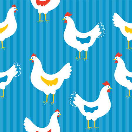 Seamless pattern with hens - funny design