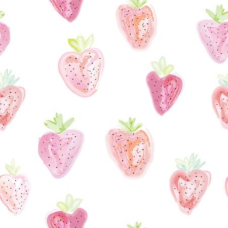 cartoon strawberry: Strawberries seamless pattern - pastel colors design