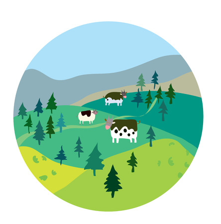 Cows and landscape illustration - label design Vector