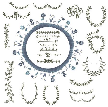 laurel wreath: Laurels and frames set - design elements