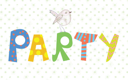 Funny party banner with texture and bird cute design Vector