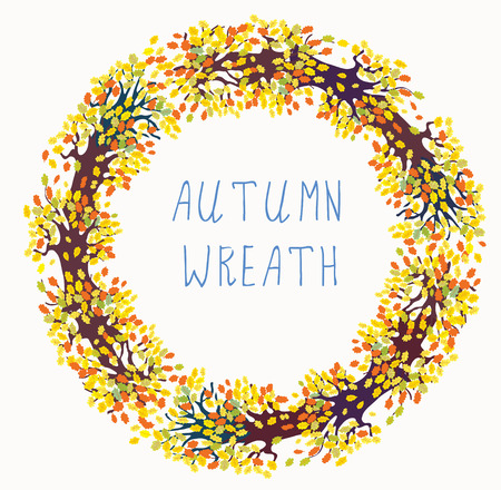 Autumn wreath frame with tree and leaves Vector