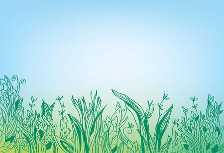 sky line: Summer grass border banner - hand drawn design Illustration