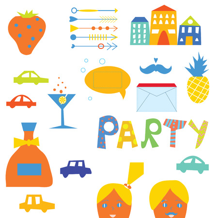 Party design elements set for hipster  Vector
