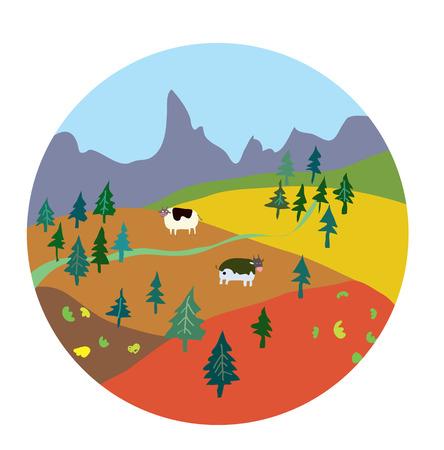 Autumn landscape for mountain farm - cute design Vector