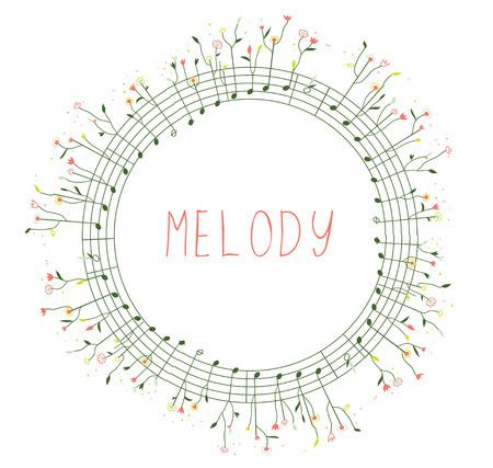 coro: Marco musical con notas y flores para la tarjeta