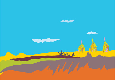 Autumn banner with fields, sky and hay Vector