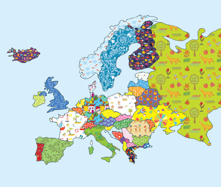 Europe map funny design with pattern and icons Illustration