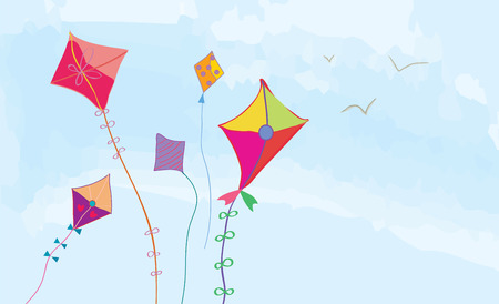 paper kite: Banner with sky, kites and birds horizontal design