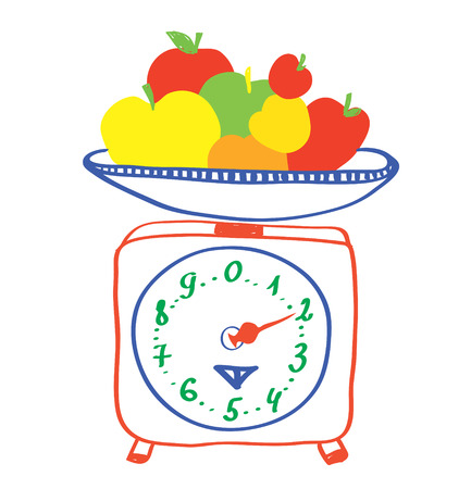 weight control: Healthy eating - scales with apples cartoon Illustration