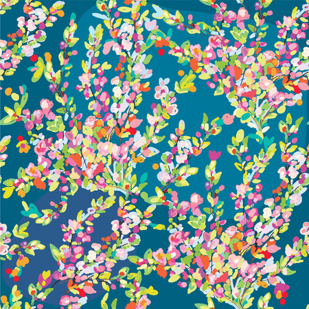 Floral seamless pattern with hand drawn blossom flowers for spring or summer Vector