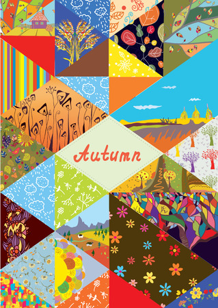 Autumn cover background with frame and set of collage elements - patterns , nature, abstract details Vector