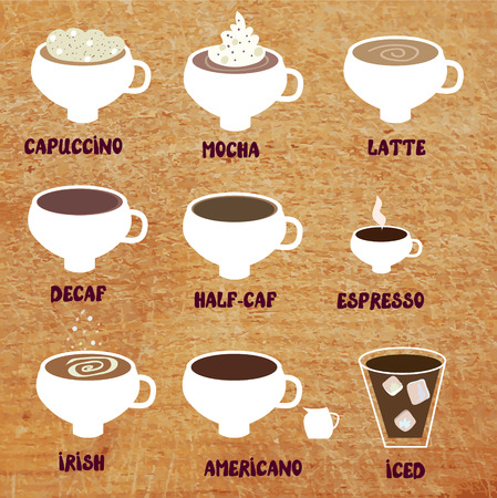 different types: Type of coffee funny menu illustration