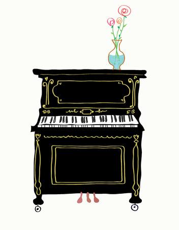 piano lesson: Piano card hand drawn illustration - cute design