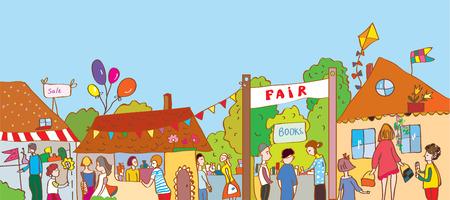 Fair vakantie in de stad illustratie met veel mensen en huizen Stock Illustratie