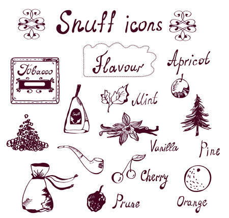 Snuff and tabacco icons set - hand drawn design Illustration