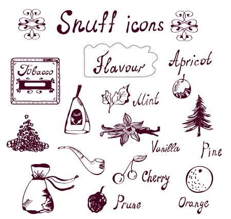 tabaco: Tabaco y Tabacco iconos conjunto - diseño dibujado a mano