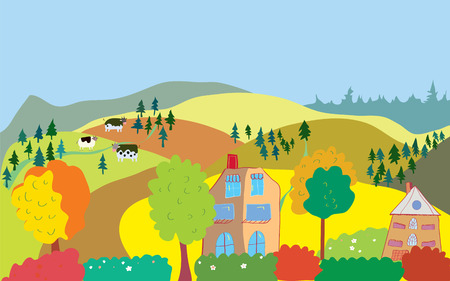 Autumn countryside landscape with trees, houses, cows and hills Vector
