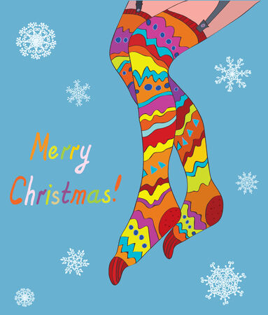 legs stockings: Merry christmas card with girl legs in stockings and snow - funny design Illustration
