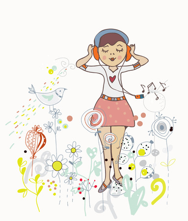 earbud: Poster of girl listening to the music with flowers, birds and nature Illustration