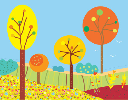 Funny fall landscape with flowers and trees in the garden Vector