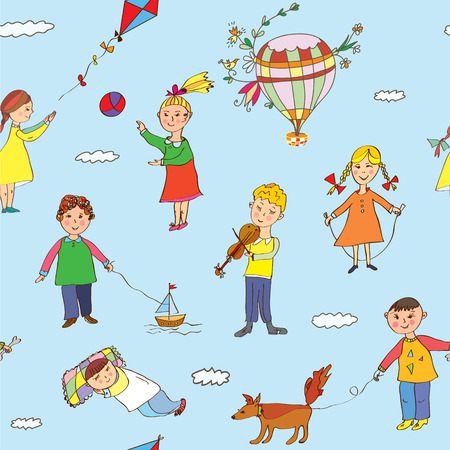 Seamless pattern with kids playing -  funny design Vector