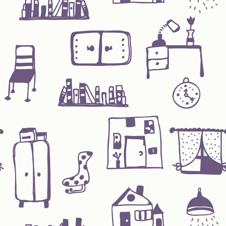 Furniture set seamless pattern - retro style Vector