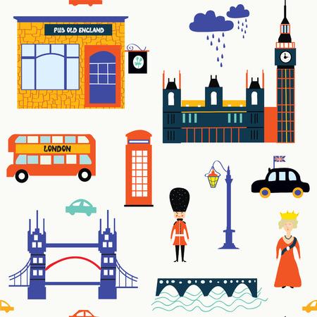 telephone booth: London symbols funny seamless pattern