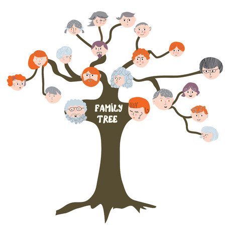 young tree: Family tree - funny cartoon illustration