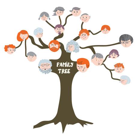 vida social: �rbol geneal�gico - ilustraci�n de dibujos animados divertido