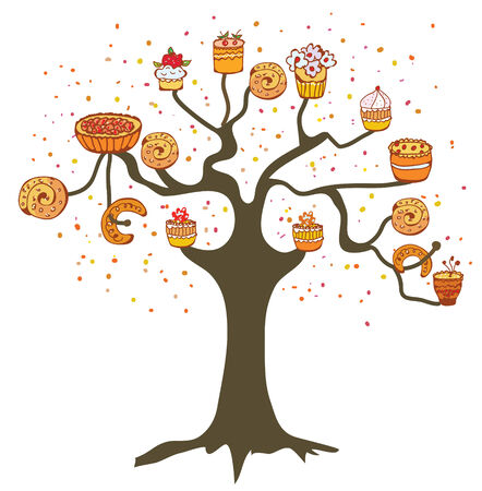 Tree with cakes - concept for the bakery or cafe Vector