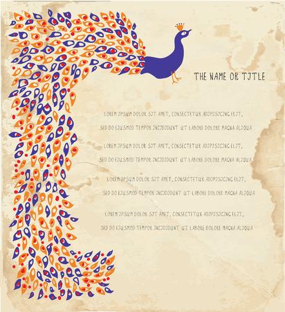 indian light: Vacaciones de fondo con el pavo real y la textura del papel Vectores