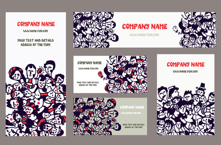 mixed family: Business cards and banners for the company - hand drawn set with people Illustration