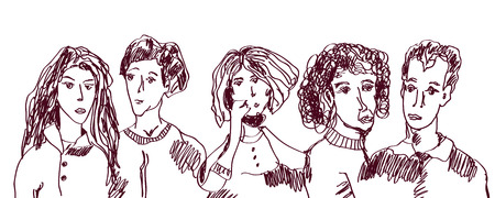 Set of people hand drawn sketch - ordinary people, old and young Vector