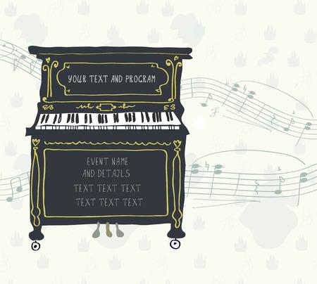 Affiche voor de piano concert met melodie - retro design
