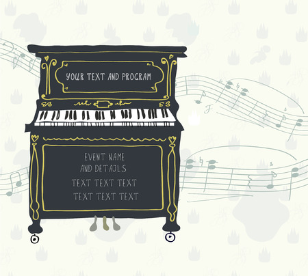 Poster for the piano concert with melody - retro design Vectores