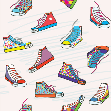 Seamless pattern with sneakers - funny bright design Vector