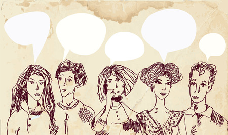 Banner with people and speech bubbles - hand drawn sketch Vector
