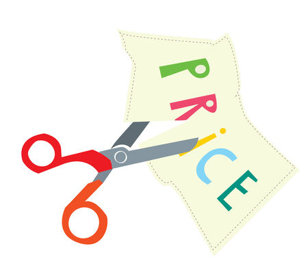 Price discount illustration with scissors Vector