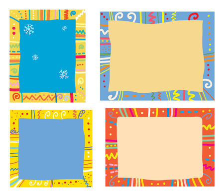 Holidays frames with pattern, snowflakes and funny design Vector