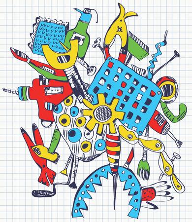Tools doodle illustration on paper - color design Vector