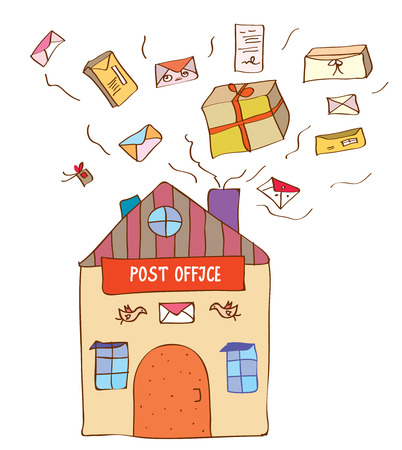 Post office with many letters and boxes - funny illustration Vector